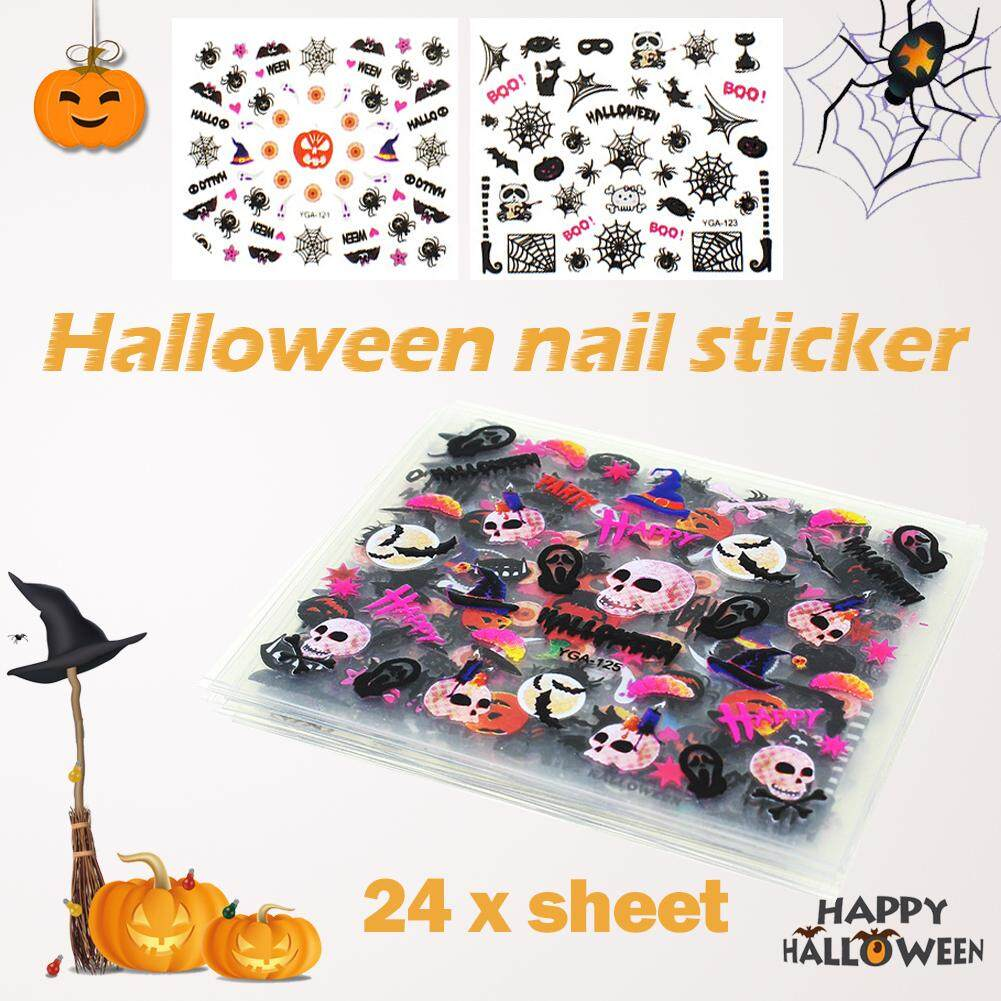 BLY 24 Sheet Halloween Design Beauty Nail Art Nails Stickers Adhesive Transfer 3D Skull Pumpkin Stickers Decals Philippines