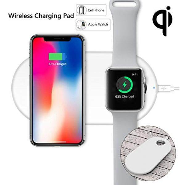Qi Wireless Charging Pad Charge Dock Apple Watch Charging Stand Portable Fast Charger Pad for iPhone X/8/8 Plus iWatch Series1,2,3 Samsung Galaxy S7/8/8PlusNote8 and All Qi Enable Devices