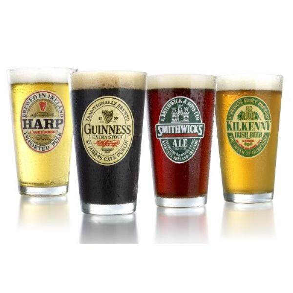 Beer Glasses ARC International Luminarc Irish Beer Label Pub Beer Glass, 16oz , Set of