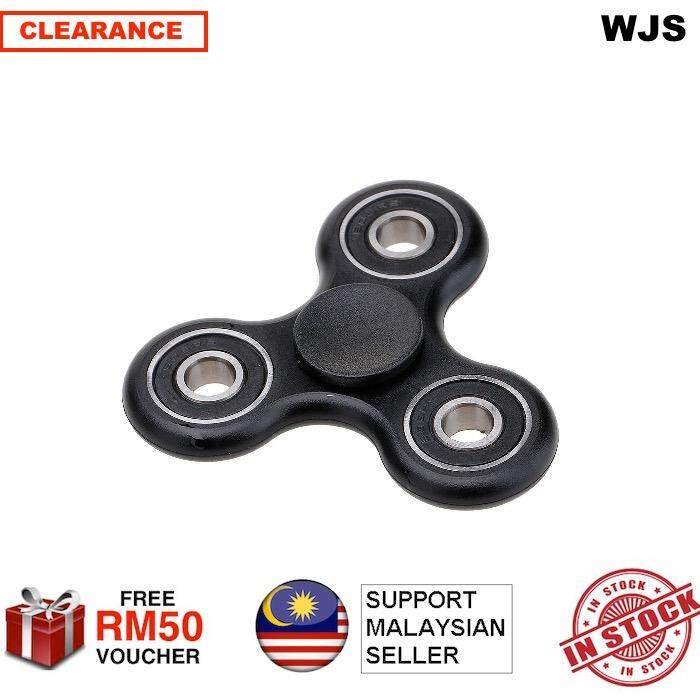 (2 PIECES) Vanker-Creative ADHD Anxiety Autism Stress Reducer Fidget Hand Tri Spinner EDC Toy Kids Adult Black
