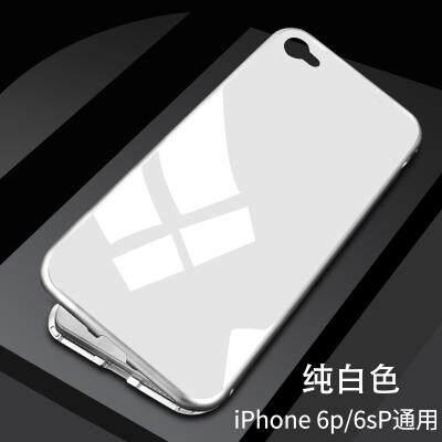 Adsorpsi Magnetik Logam Bemper Sarung untuk Apple iPhone 6 Plus/6 S Plus Case S Tempel Ultra Tipis kaca Case 2 Dalam 1 Aluminium Bingkai Magnet Adsorpsi Cangkang