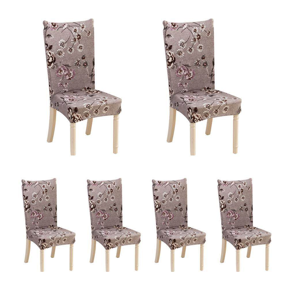 Eenten 6 Pcs Soulfeel Soft Spandex Fit Stretch Short Dining Room Chair Covers With Printed Pattern, Banquet Chair Seat Protector Slipcover For Home Party Hotel Wedding Ceremony - intl