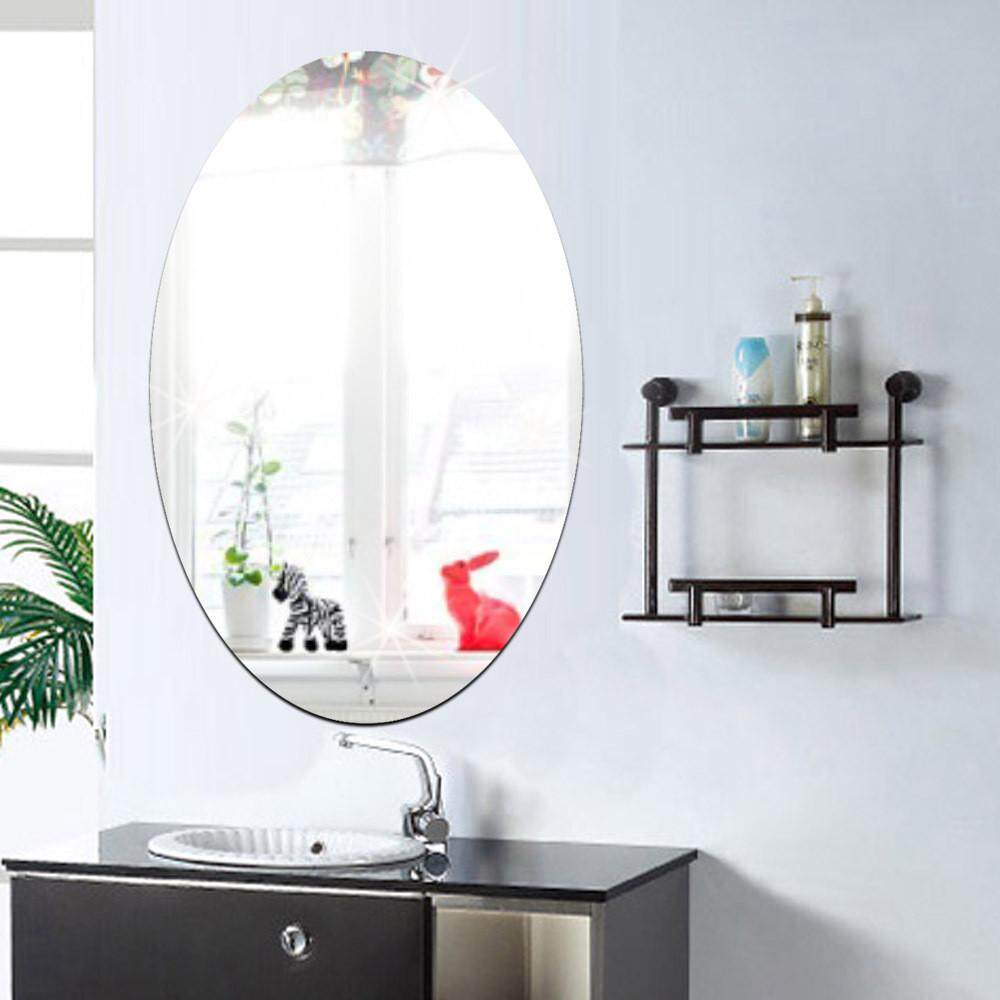 27*42cm Oval Acrylic Bathroom Waterproof Mirror Sticker   Intl