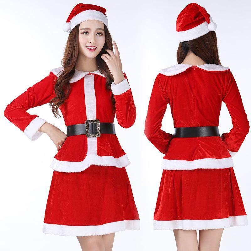 Women Christmas Costume Santa Claus Osplay Adult Dance Costume Felame  Lolita Christmas Clothing with Hat+ ec6710c9ee58
