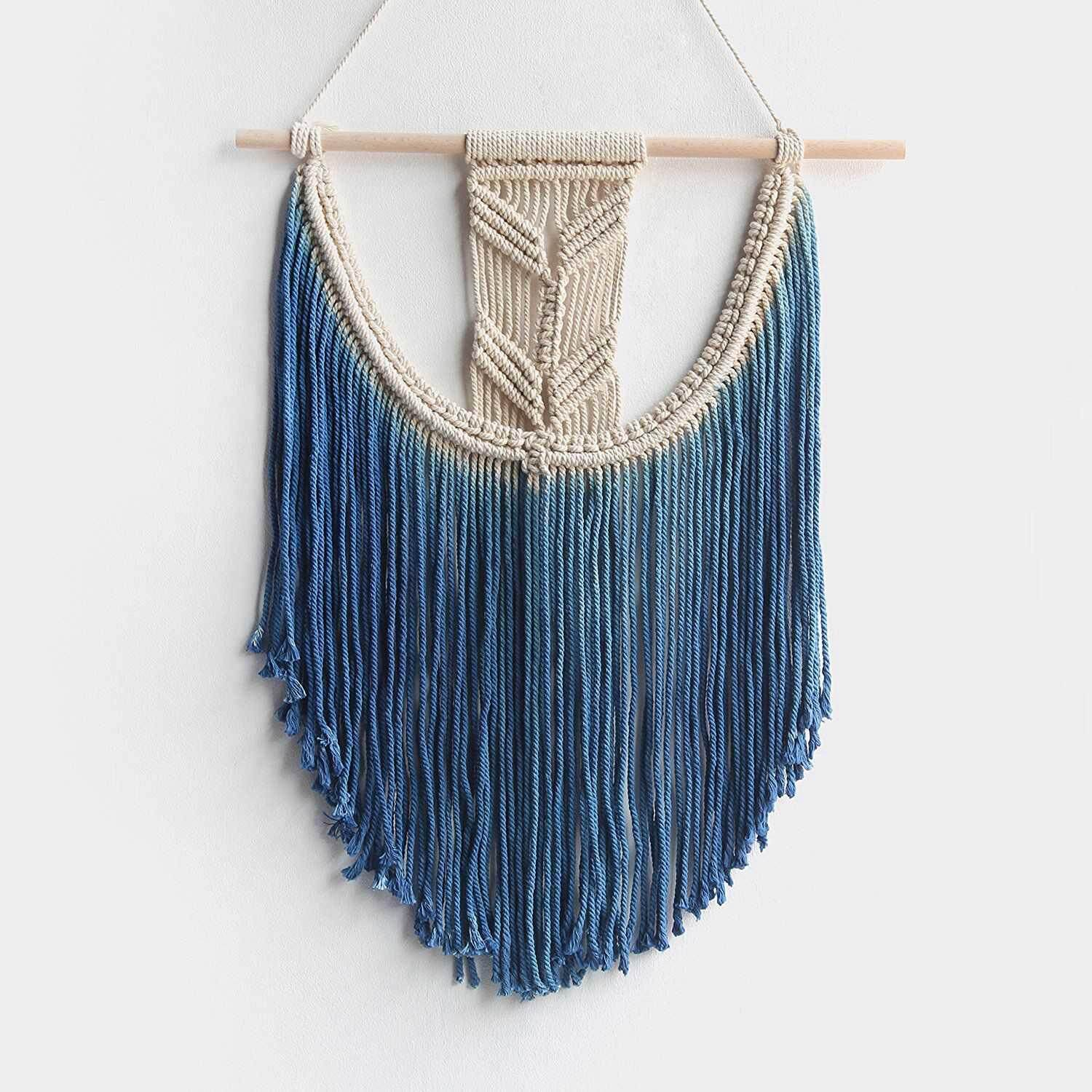 Macrame Wall Hanging Tapestry Hand Woven Pendant Decoration House Ceremony Living Room Home Furnishing Accessories Mandala Blue Free Shipping