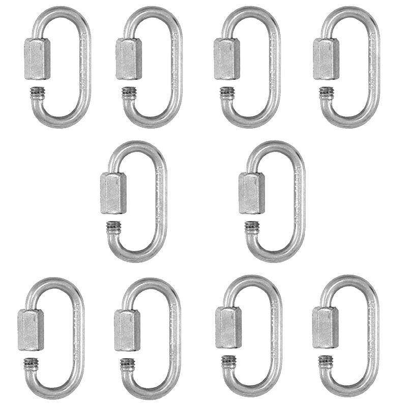 10 x QUICK SCREW LINK Chain Fastener Hook Carabiner Steel Repair Hiking Camping,4mm
