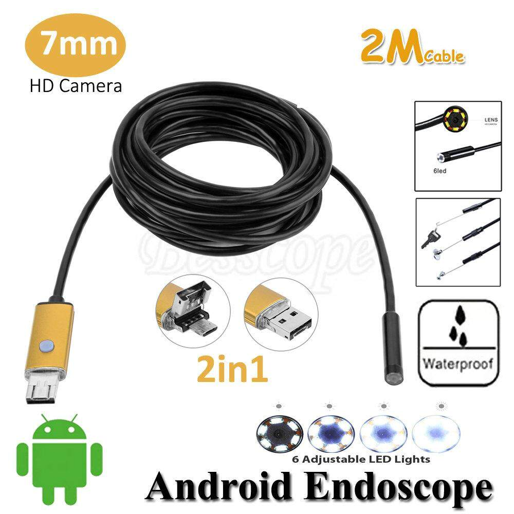 2M 6LED 5.5mm OTG & Micro USB Android Endoscope Waterproof Inspection Camera