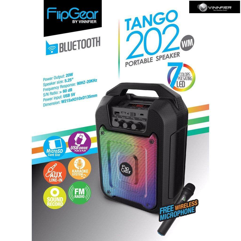 VINNFIER FlipGear Tango 202 Portable Speaker with Voice Recording, Karaoke System, Bluetooth, USB, Micro SD and Microphone