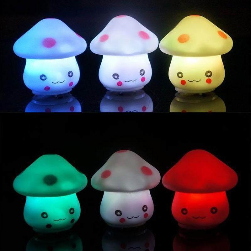 เห็ดที่มีสีสันไฟกลางคืนโคมไฟอุปกรณ์ตกแต่งห้องนอนของเล่นโต๊ะเด็ก By Yueyi Store.