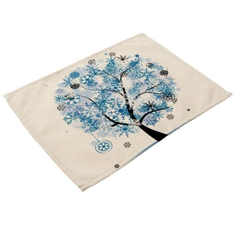 Biru Langit Pohon Gambar Alas Piring Linen untuk Dapur Bisa Dicuci Taplak Meja Non-Slip Panas Isolasi Meja Makan Tikar untuk Cangkir Teh Taplak Meja 42X32 Cm #4-Intl
