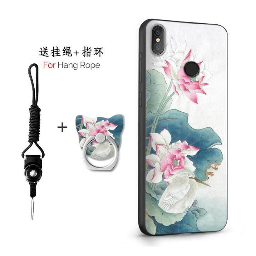 Untuk Xiaomi Redmi Note 5 Pro/5.99 Inch Case 3D Relief Silikon TPU Berbahan Lembut Anti-Knock Shockproof Kembali Kulit Penutup (1X Tali Gantung) + (1 X Sama Bracket)
