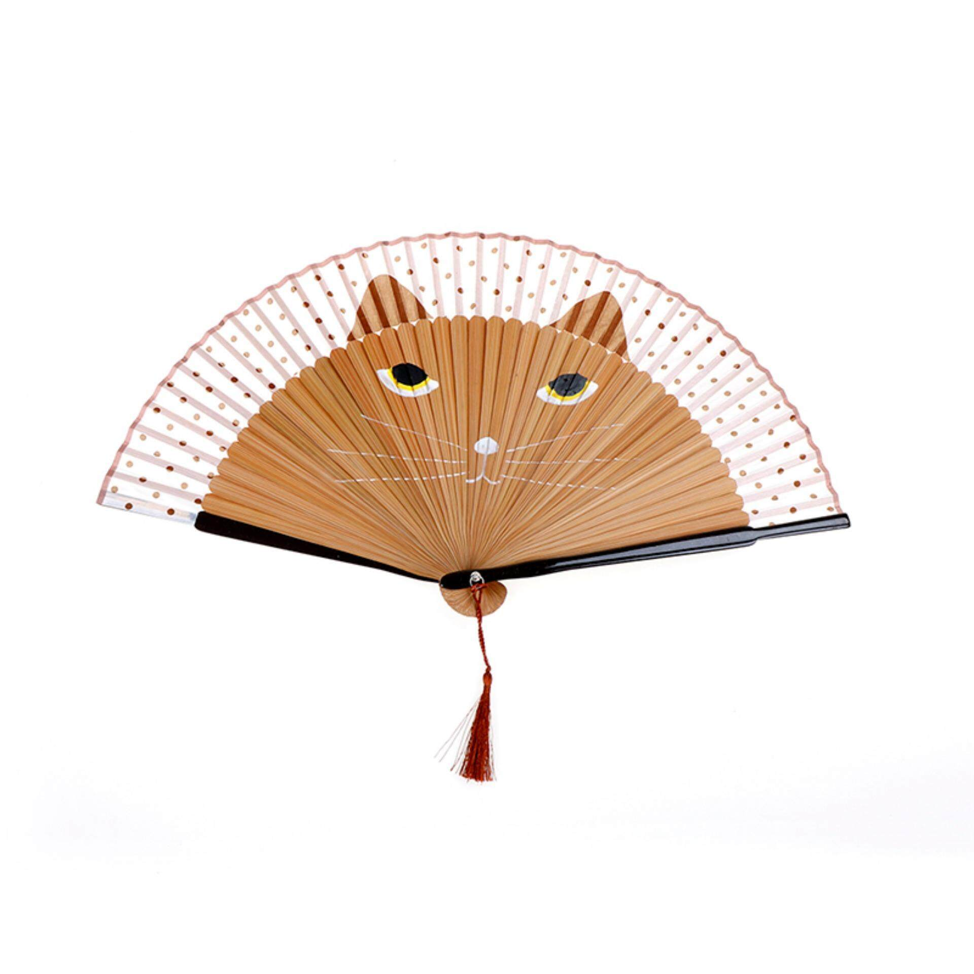 Mua Japanese Cosplay Silk Bamboo Hand Held Cartoon Cat Folding Fan Party Gift Brown - intl