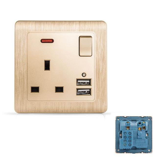 MumoLight Home Switches C60 Classical Art Gold 13A Switched Socket with neon + 2 USB