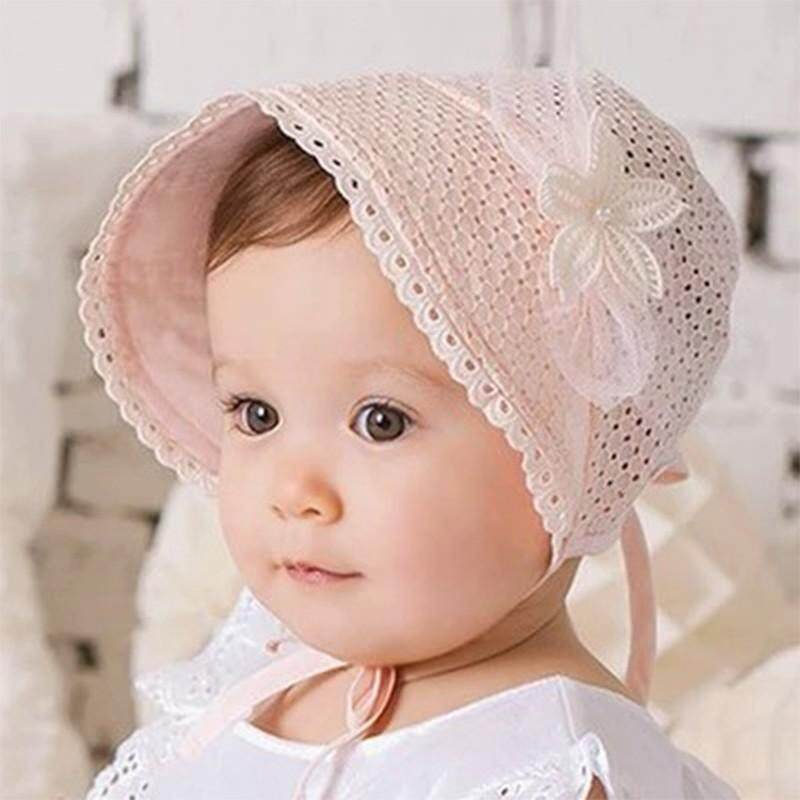 a2a7bbb9 Spring Cap Summer Sweet Princess Hollow Baby Girls Hat Lace-up Beanie  Cotton Bonnet Child