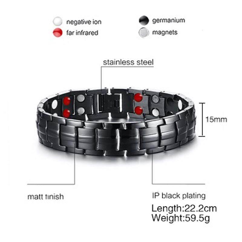 S-Im Pria Baja Anti-karat Gelang Double Baris Magnet Inframerah Gelang Kesehatan Perhiasan Modis