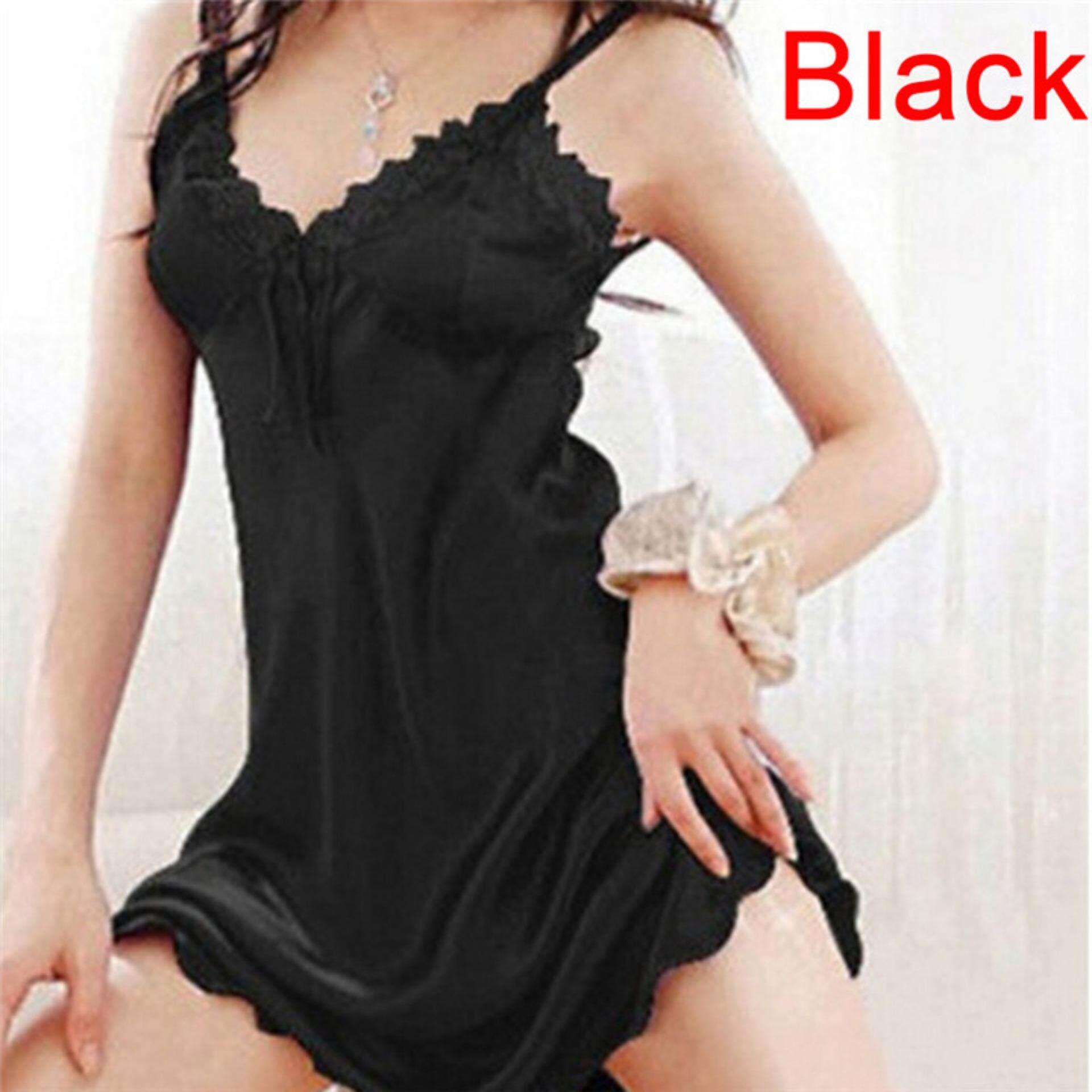 5b703d4ed0 Women Sexy Sleepwear Nightgown Satin Silk Babydoll Lace Robes Sleep Dress  Skirt Black - intl
