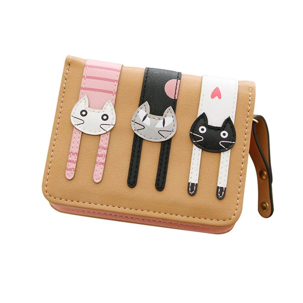 B-F New Women Mini Purse Lovely Cats Wallet Card Holder Purse Zipper Multiple Cards Holder For