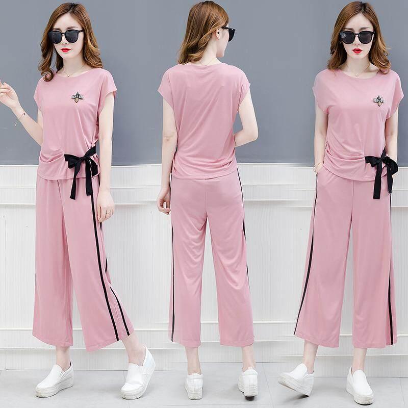 27c8fee4f992d Leisure Sports Clothing women Suit Summer 2018 New Style Korean Style  Fashion Short Sleeve Capri Loose