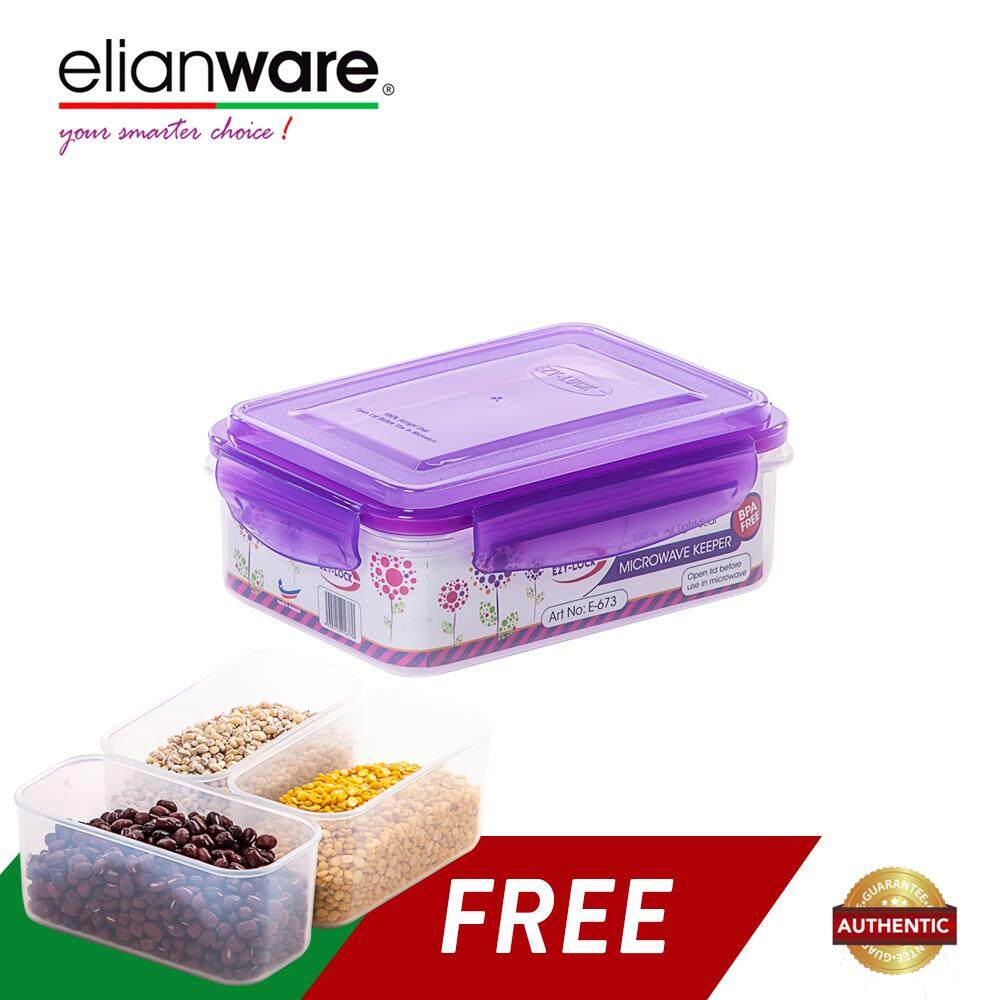 Elianware 1 Ltr BPA FREE 100% Airtight Food Keeper [Free 3 Compartments]