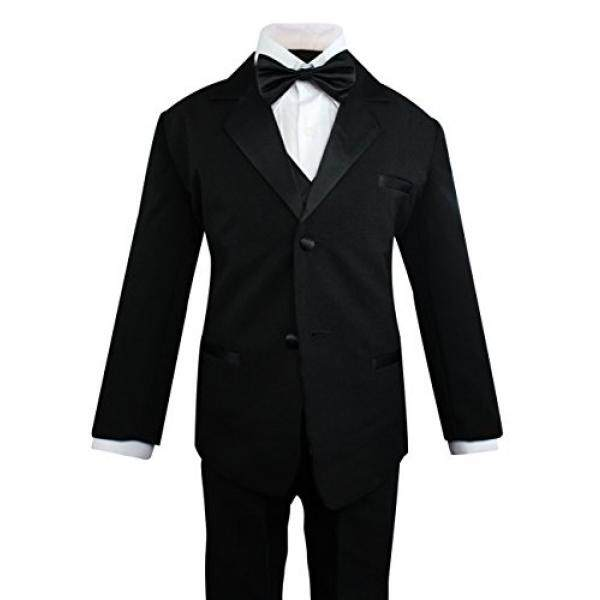 Luca Gabriel Toddler Boys 5 Piece Classic Fit Formal Suit Bowtie Set - 18-24 Months