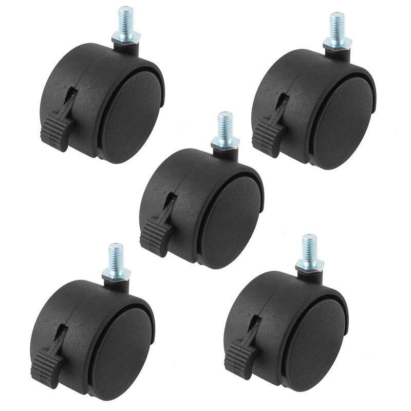8mm Threaded Stem 2 Inch Dia Wheel Chair Swivel Caster With brake 5 Pcs Black - intl