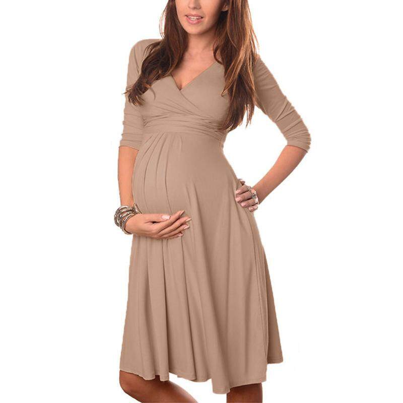 f65f8e96feb41 VONDA Maternity Clothes 2018 Spring Summer Pregnant Women Dress Casual V  Neck 3/4 Sleeve