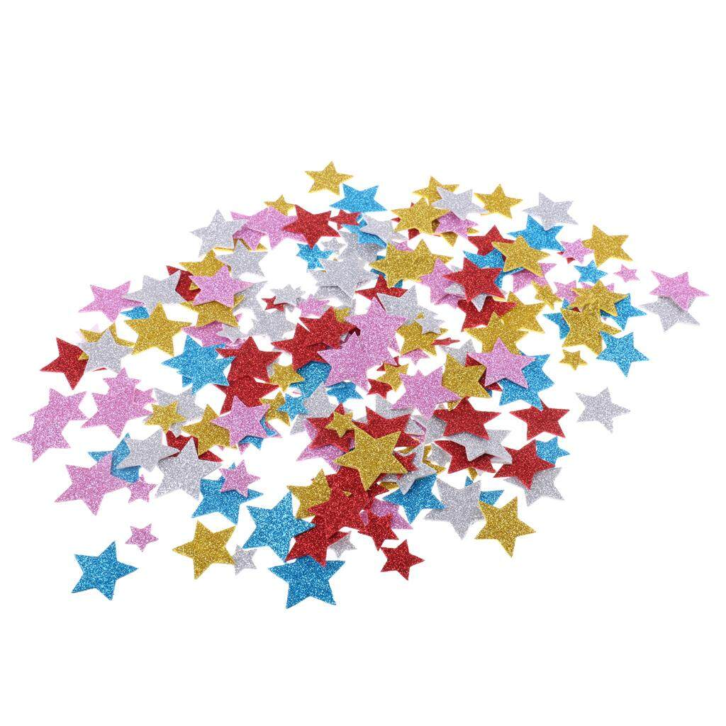 Bolehdeals 200 Pieces 5 Colors Self Adhesive Glitter Foam Stickers 1.5-3.5cm Star By Bolehdeals.