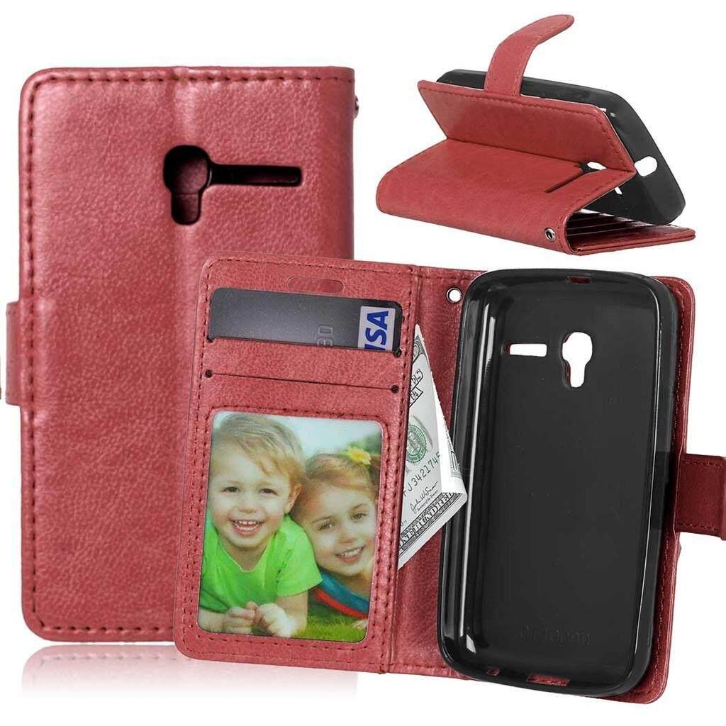 Alcatel Pixi 3 (3.5) Case, Bujing Kulit PU Hitam dan Dompet TPU, Slot Kartu, Berdiri, bingkai Foto Casing untuk Alcatel Pixi 3 (3.5)-Intl