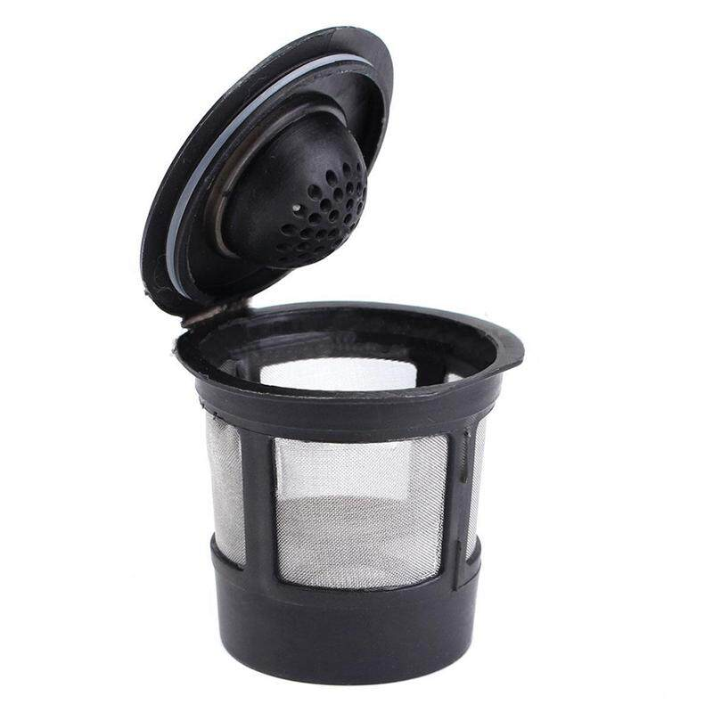 2 Pcs Reusable Single Cup For Solo Filter Pod K-Cup Coffee Stainless Mesh Black