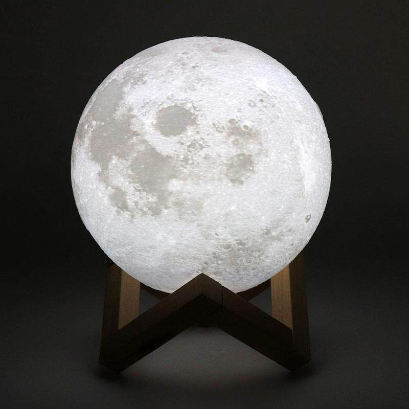 Bảng giá 15CM Rechargeable 3D Print Moon Lamp with 2 Color Change Touch Switch Support Long Press The Switch to Adjust The Brightness - intl