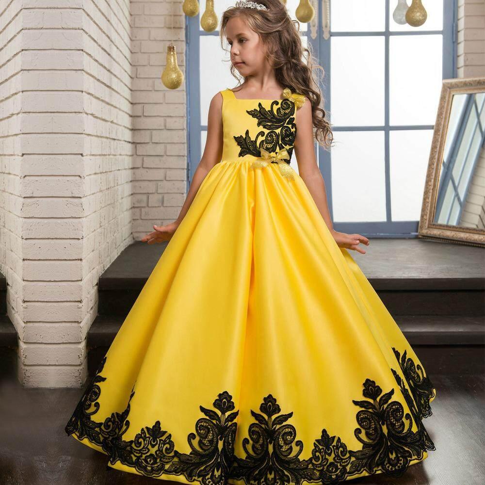 b8439de4e0d YALEER Girls Formal Occasion Bowknot Flower Dress Kids Wedding ...