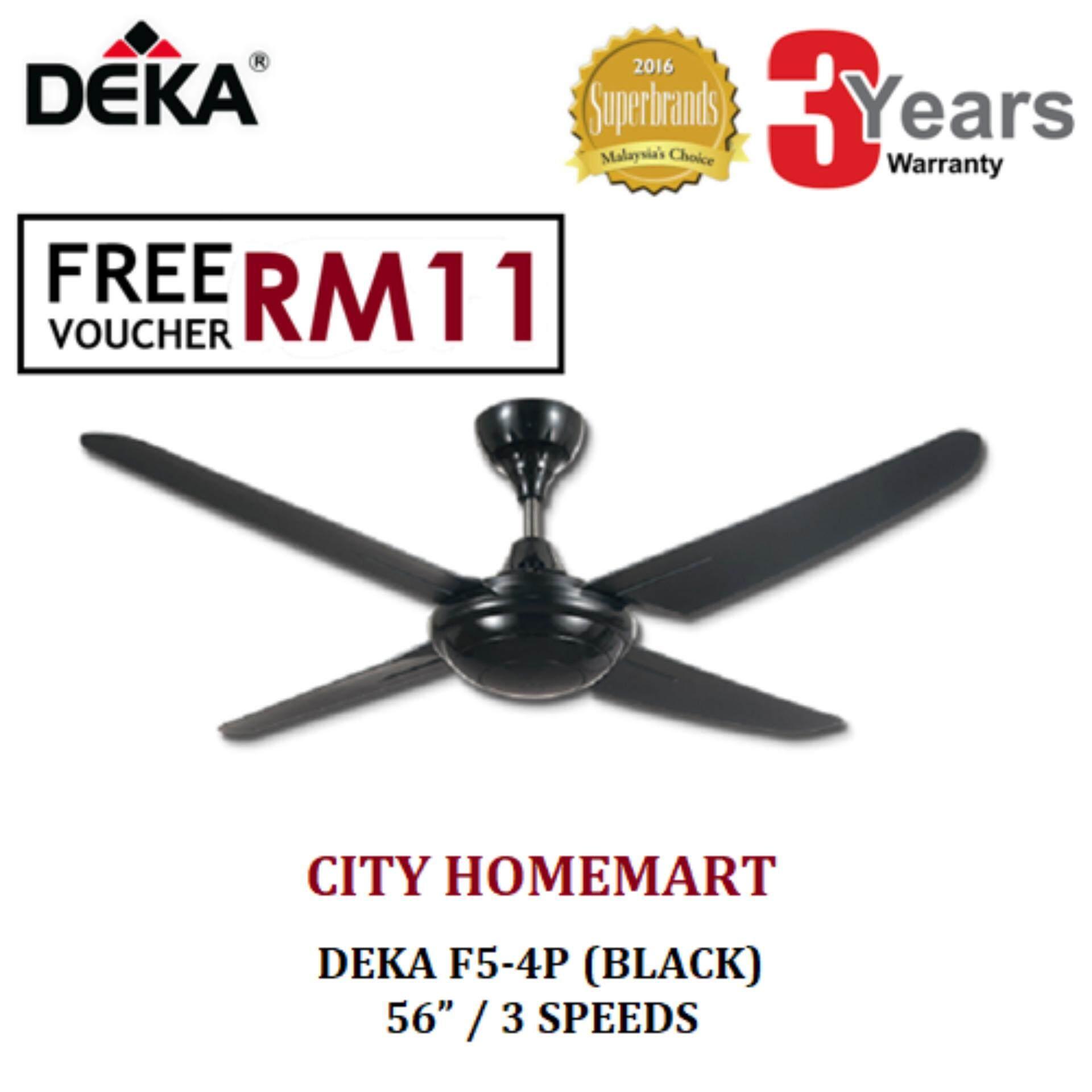 Deka F5 4p Ceiling Fan With Remote Control Black