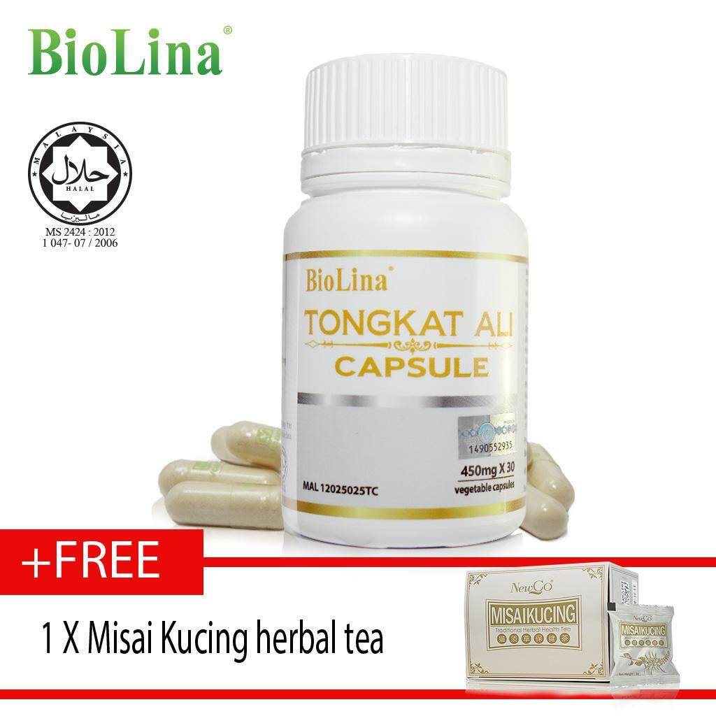 Biolina Tongkat Ali Capsule 30's x450mg free misai kucing herbal tea