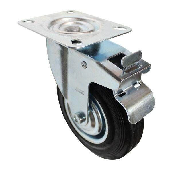 DOUBLE BRAKE RUBBER CASTER (MADE IN TAIWAN)