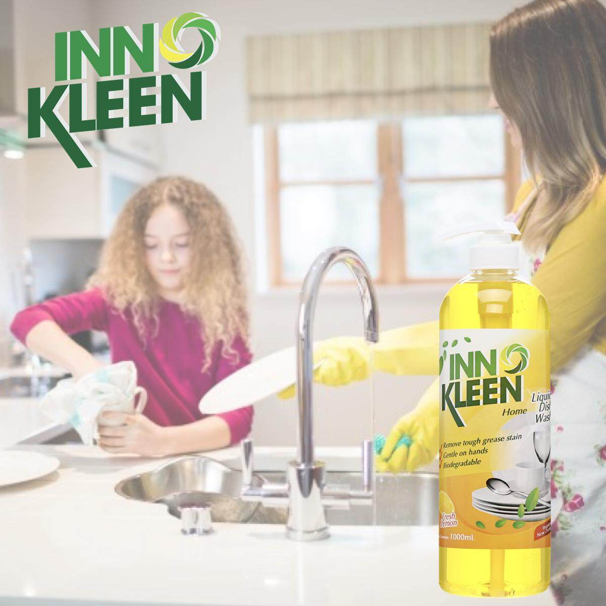 [VALUE PACK] Set of 2 INNOKLEEN HOME Liquid Dish Wash (Fresh Lemon) Remove Tough Grease Stain 1L