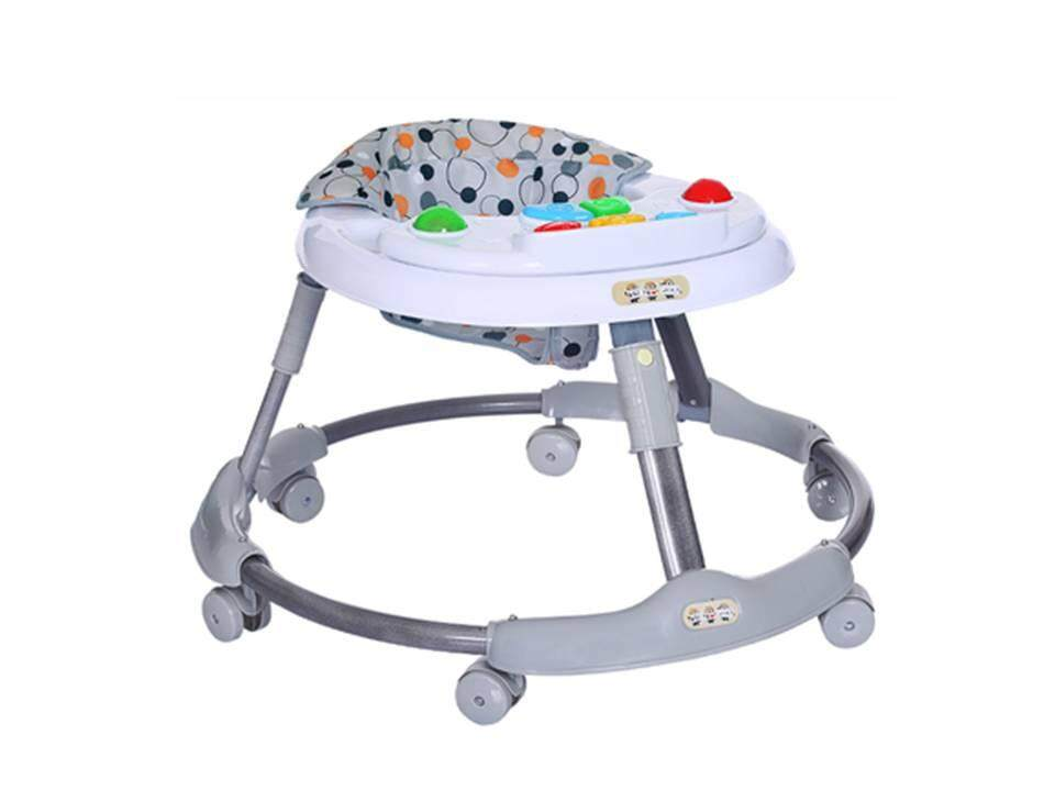 Modern Round Shape Baby Walker [pink/blue/grey] with Music and Food Tray