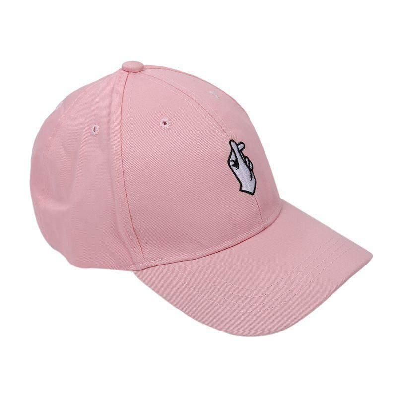 Adjustable Men Women Hand Love Hat Hip Hop Curved Baseball Cap Color:Pink - intl