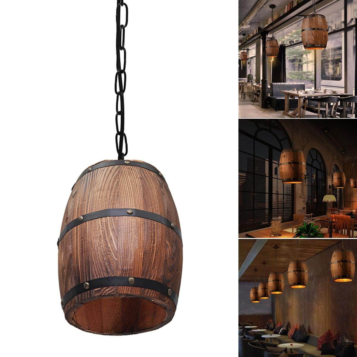 Wood Wine Barrel Hanging Fixture Ceiling Pendant Lamp Lighting Deco Bar Light Bar Cafe Light Wood Wine Barrel Hanging Light Loft Ceiling Pendant Lamp