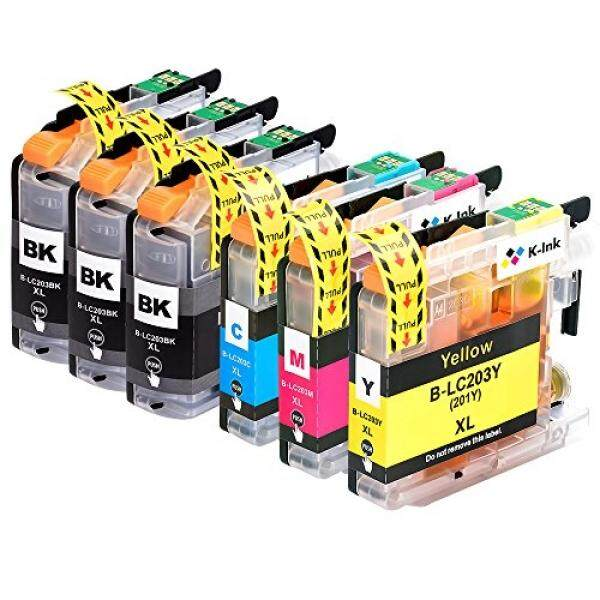 Inkjet Printer Ink K-Ink Compatible Replacement Ink Cartridges for Brother LC203 LC 203XL LC201 for MFC-J480DW (6 Pack - 3 Black, 1 Cyan, 1 Magenta, 1 Yellow) - intl