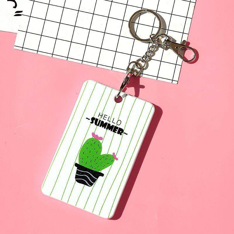 Chux Cactus Badge Holder Bus Cards Holder High Quality Student Transport ID IC Card Sets Key Chain Ring for School Office supplies