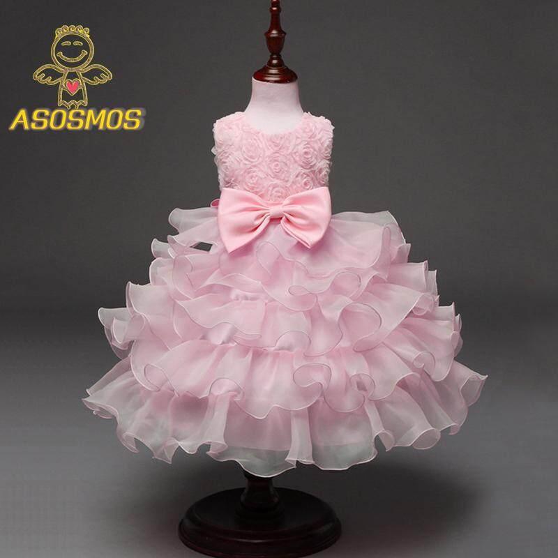 Giá bán ASM Mùa Hè Bé Gái Tutu Đầm Hoa Hồng Hoa Tay Lỡ Thắt Nơ Sundress Bé Dự Tiệc Cưới Công Chúa Váy