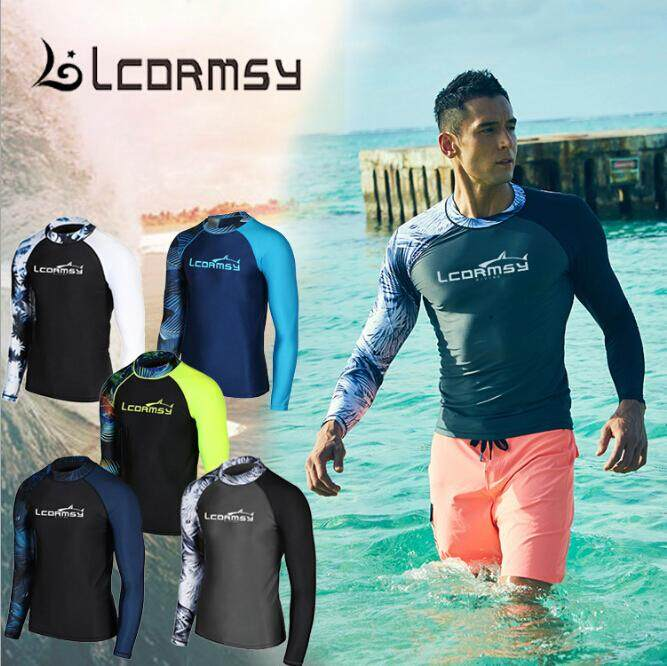 1b21cff8b2 Luoke Men Diving Snorkeling Wet Suit Sunscreen Swimwear Swim Spearfishing  Surf Long Sleeve Shirts Tops Windsurf