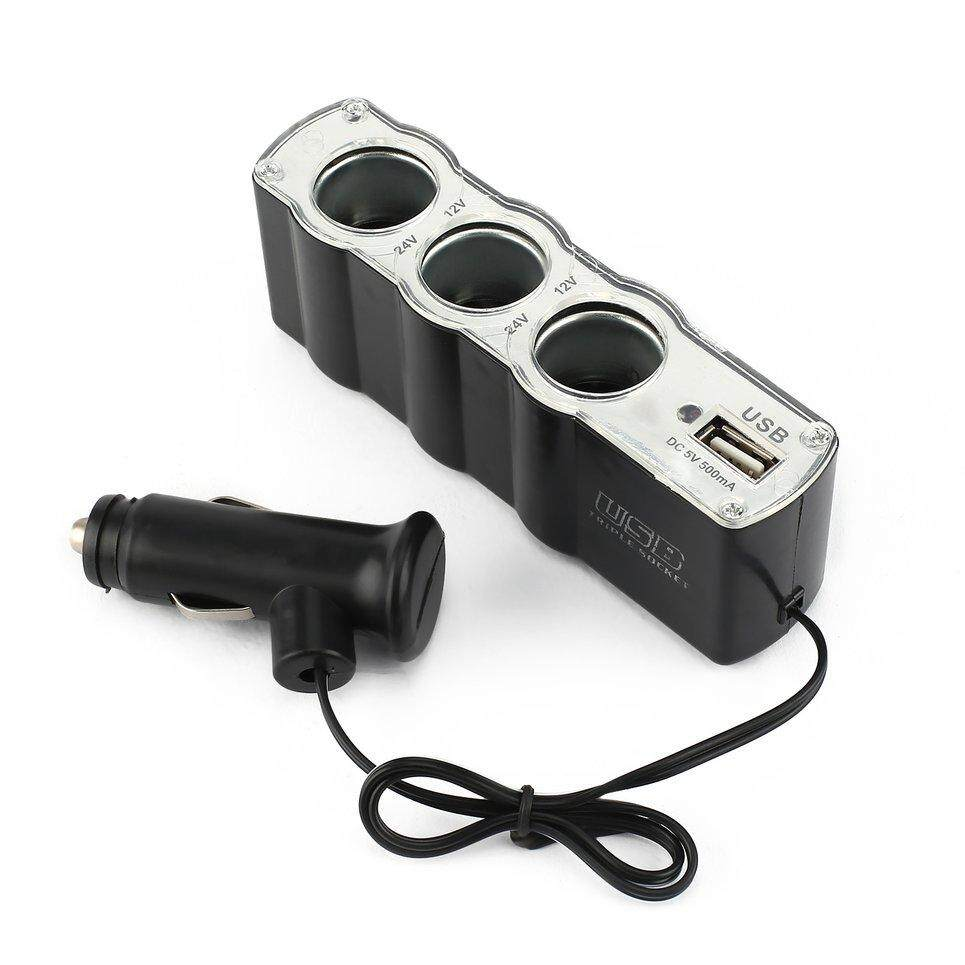 Beau 3way 12v Car Lighter Power Socket Charger Adapter+usb Port Charger.