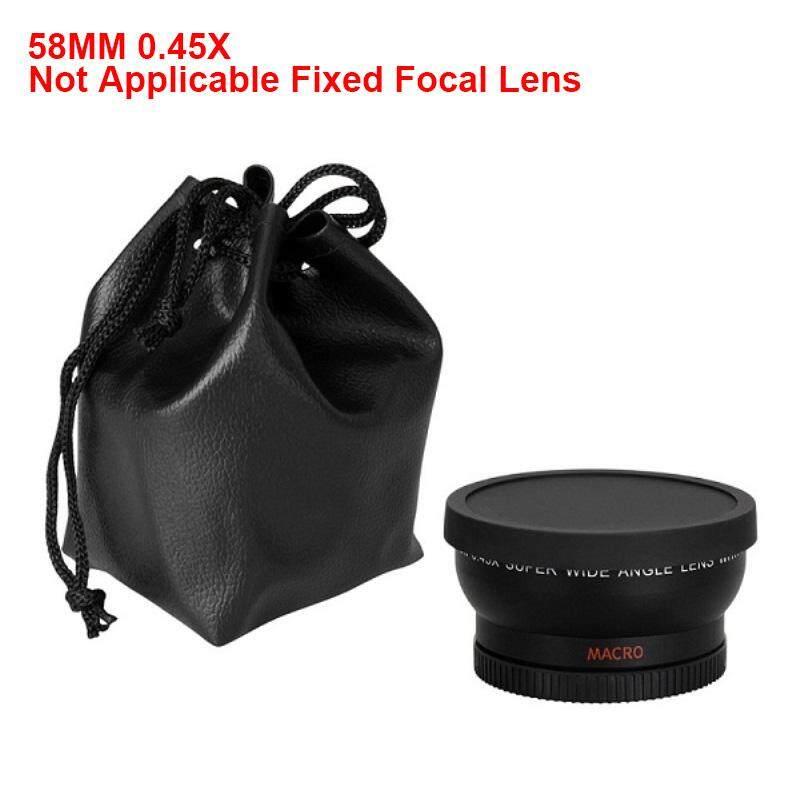 Yuchen Baru 2-In-1 58 Mm 0.45X Makro Sudut Lebar Lensa Kamera dengan Dua Cap untuk Canon Nikon Kamera Sony