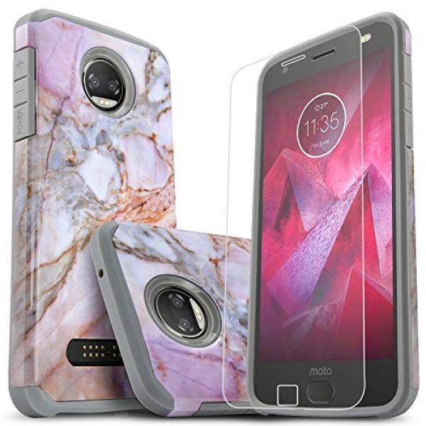 Screen Protectors Moto Z2 Force Case, Moto Z2 Force Droid Case, Starshop [Shock Absorption] Dual Layers Impact Advanced Protective Cover With [HD Screen Protector Included] For Motorola Moto Z2 Force (Marble Pattern) - intl