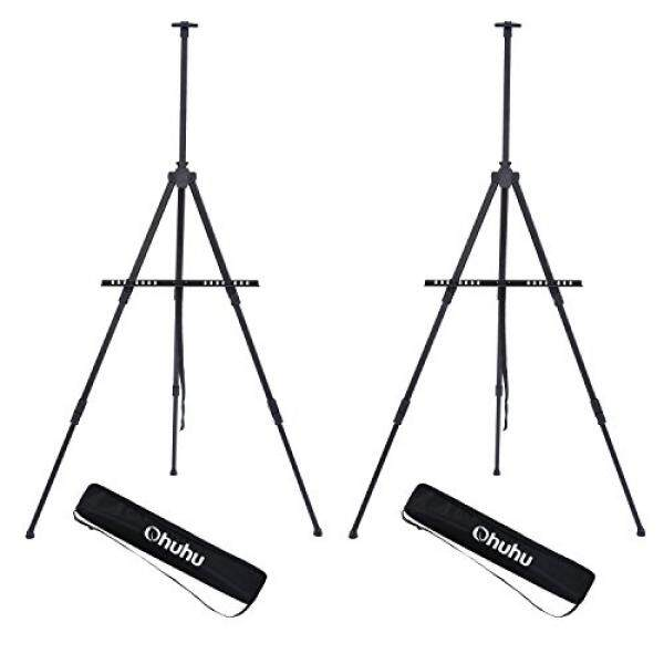 "Display Easel Stand, Ohuhu Aluminum Metal Tripod Field Easel with Bag for Table-Top/Floor, 2-Pack Black Art Easels W/ Adjustable Height from 25 - 73"" For Poster, Displaying, Drawing and Paint - intl"