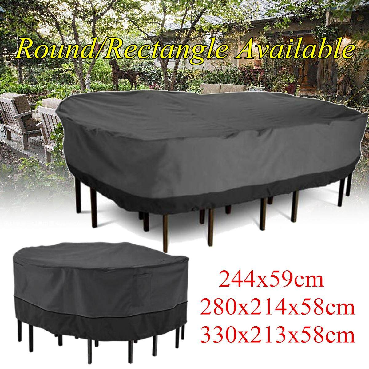 (photo)Large Patio Garden Rectangular Oval Table Chair Cover Outdoor Furniture Winter [280*214*58cm]