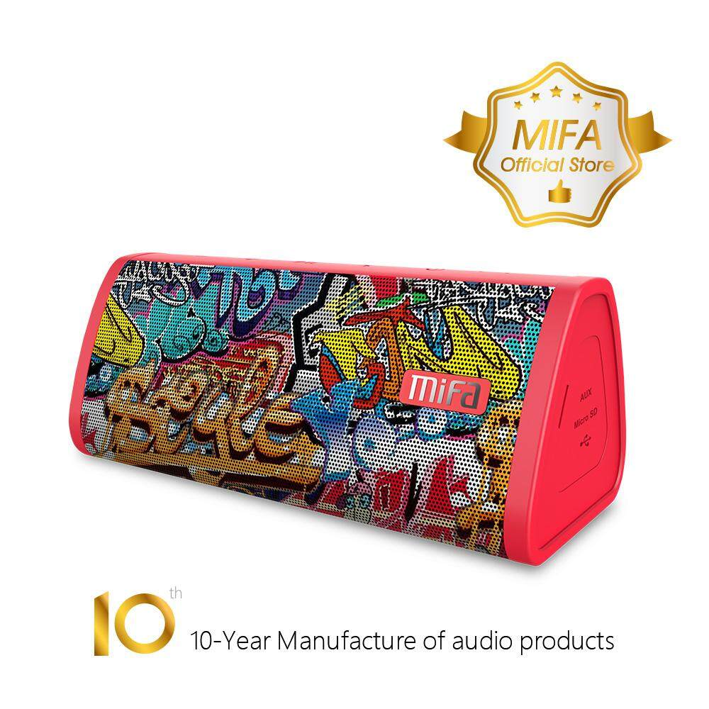 [24 BULAN GARANSI] Original MIFA A10 Mobile Portable Wireles Bluetooth Speaker, LOUD & CLEAR!  16-Hour Playtime, IP45 Dustproof&Water-Resistant, 10W Rated Power HD Stereo Sound & Enhanced Bass, Support TWS, Built-in Mic, Micro SD Card Slot(Red Graffiti)
