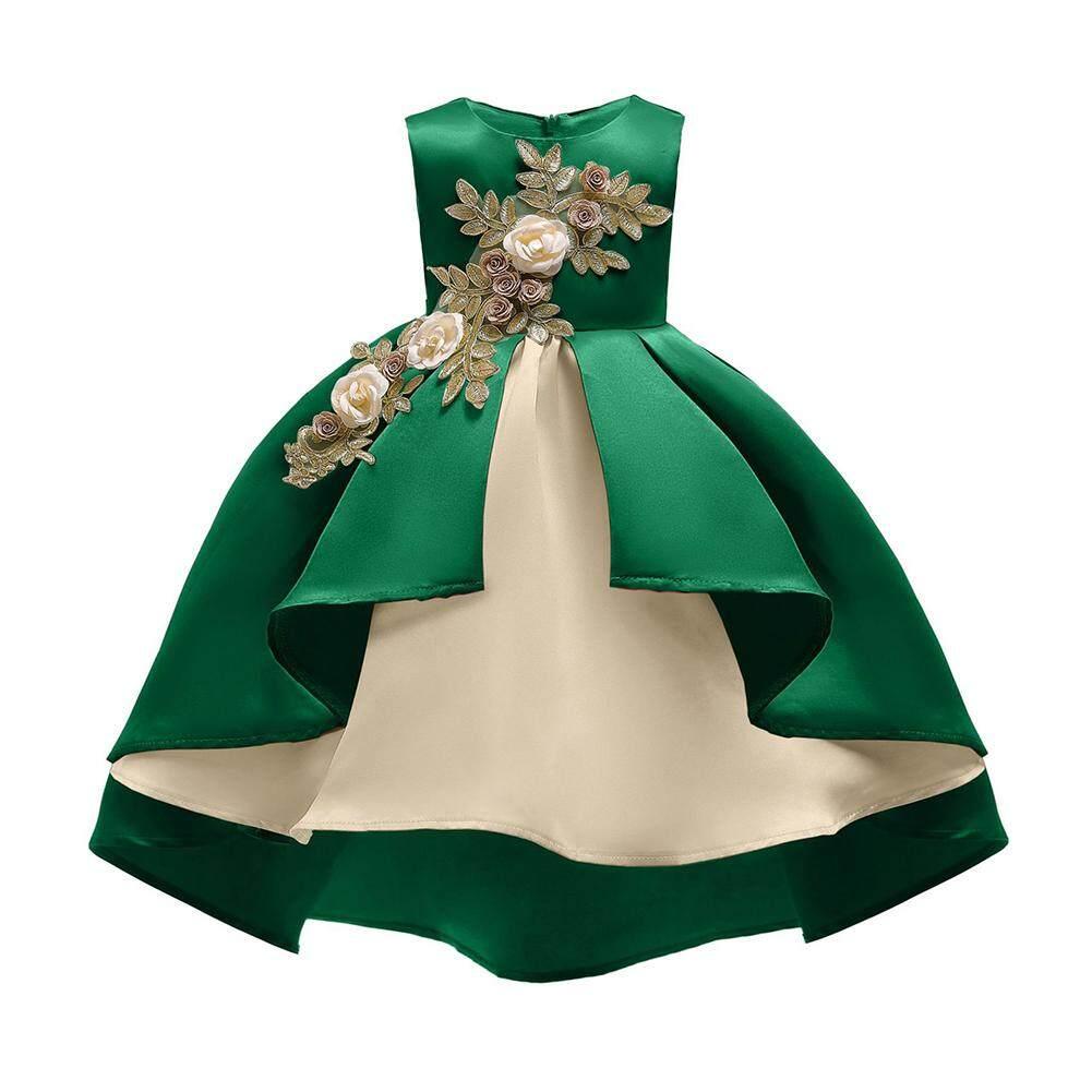 Anak Gadis Gaun Putri Berbordir Bunga Pesta Pernikahan Gaun Formal Anak Perempuan untuk Anak-anak