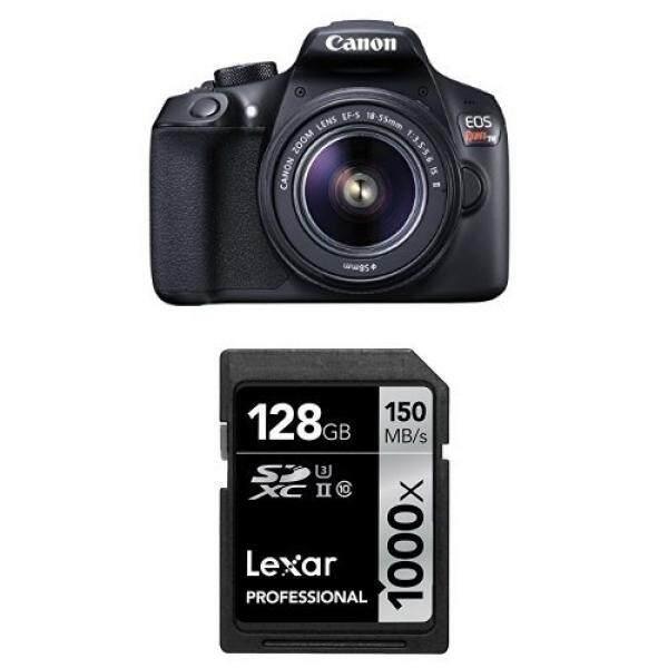 Canon EOS Rebel T6 Digital SLR Kamera Kit dengan EF-S 18-55 Mm + Lexar 128 GB Kartu Memori